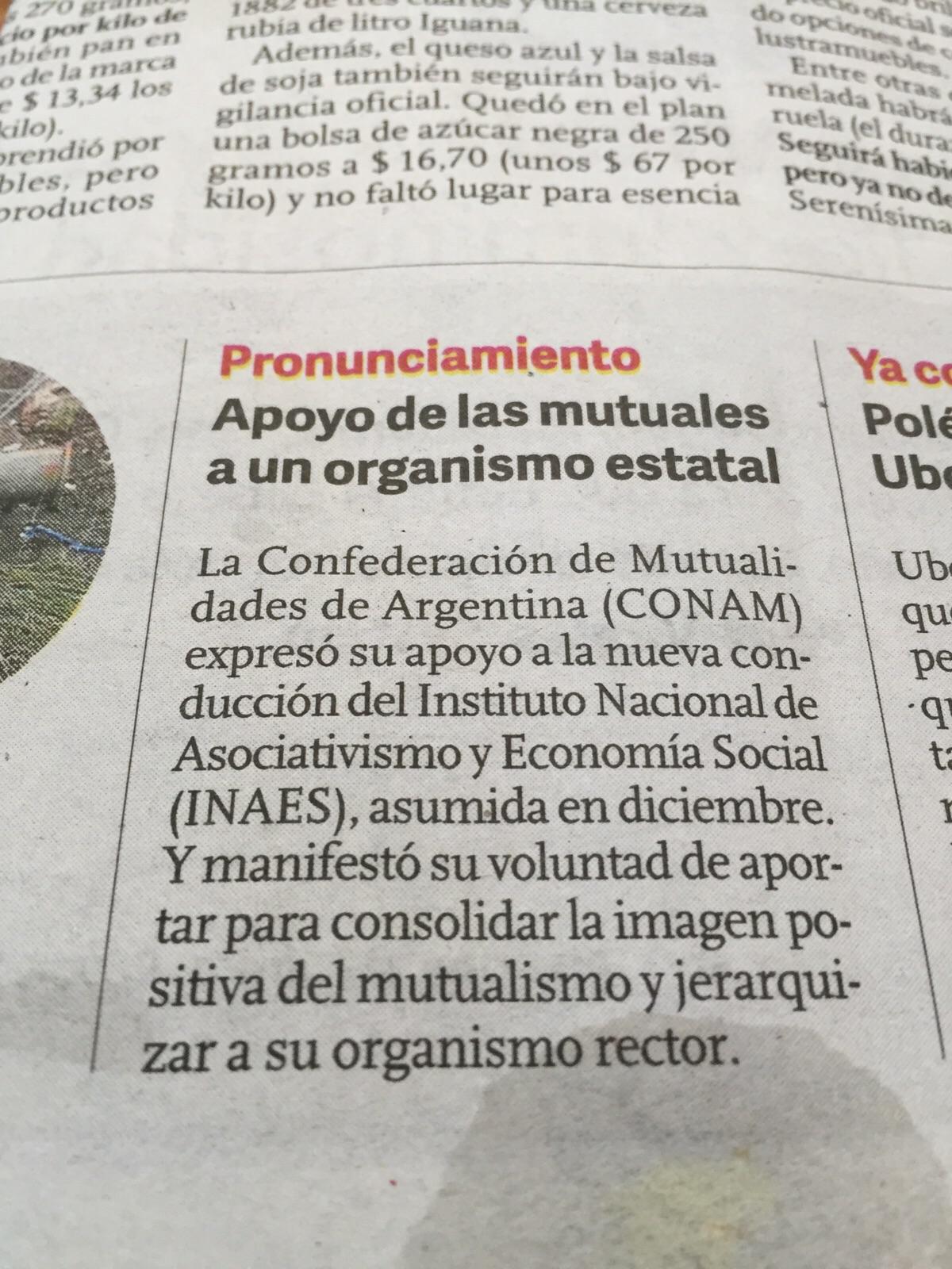 PRONUNCIAMIENTO DE CONAM - CLARÍN 9 DE ENERO DE 2016